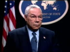 George W Bush State of the Union address/ Reax DAVID SMITH Colin Powell interview Washington DC 2SHOT Smith asking Colin Powell question on avoiding...