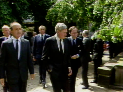 George Younger Malcolm Rifkind and Cecil Parkinson arrive at a memorial service in Aberdeen for the victims of the Piper Alpha disaster