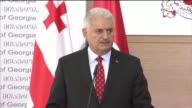 Georgia's Prime Minister Giorgi Kvirikashvili holds a joint press conference with Turkish Prime Minister Binali Yildirim in Tbilisi Georgia on May...