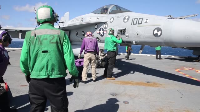 USS Gerald R Ford conducts flight operations with embarked F/A18F Super Hornets from Air Test and Evaluation Squadron 23 Ford is currently underway...