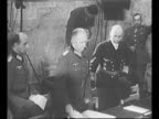 German and Allied military officials meet at Rheims for German surrender during World War II / German General Alfred Jodl and other High Command...