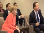 German Chancellor Angela Merkel and British Prime Minister David Cameron watch England v Germany World Cup match ahead of G20 summit