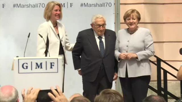 German Chancellor Angela Merkel and former US Secretary of State Henry Kissinger discuss the lasting legacy of the Marshall Plan on its 70th...