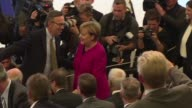 German Chancellor Angela Merkel in the middle of her election campaign inaugurates the Frankfurt Motor Show the first one since the revelations of...