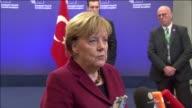 German Chancellor Angela Merkel informs the media before the EU summit meeting in Brussels Belgium on November 29 2015 Footage by European Union /...