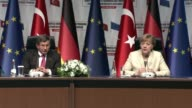 German Chancellor Angela Merkel speaks during a joint press conference of TurkeyEU Aid Program for Syrian Refugees with Turkish Prime Minister Ahmet...