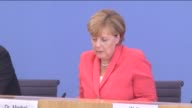 German Chancellor Angela Merkel speaks during a press conference in Berlin Germany on August 31 2015 Chancellor Merkel held her annual press...