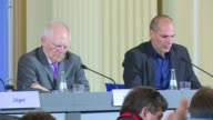 German Finance Minister Wolfgang Schaeuble and his Greek counterpart Yanis Varoufakis acknowledge deep divisions over to how to solve Greece's debt...