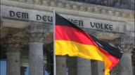 German flag blows in the wind at the German Reichstag on May 32014 in Berlin Germany NO