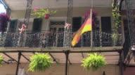 MS LA German flag on house balcony, French Quarter, New Orleans, Louisiana, USA