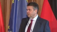 German Foreign Minister Sigmar Gabriel and Chinese Foreign Minister Wang Yi hold a press conference after their meeting in Berlin on April 26 2017