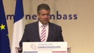 German Foreign Minister Sigmar Gabriel speaks before French ambassadors gathered in Paris calling for increased social protections for European...
