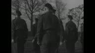 CU German Major General Franz Vaterrodt frowning dejectedly at being captured / MS highranking German POWs / MLS German POWs lined up in front of...