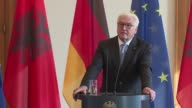German President Steinmeier delivered a statement on the outcome of the elections in Germany during a press conference with his Albanian counterpart...