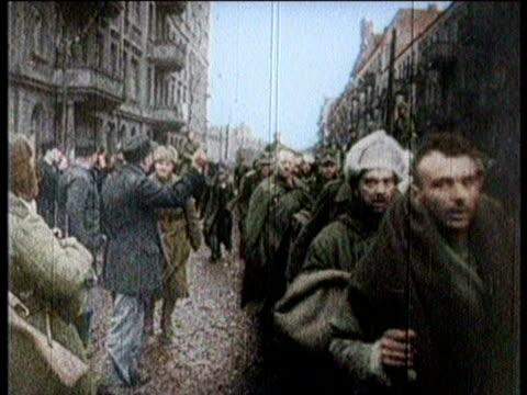 German soldiers and officers taken into custody in Germany / German soldier held at gunpoint / German officers standing around / German soldiers bing...