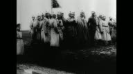 German soldiers marching WS German officers standing WS Troops marching WS Officials troops standing on field BG WWI invading Belgium