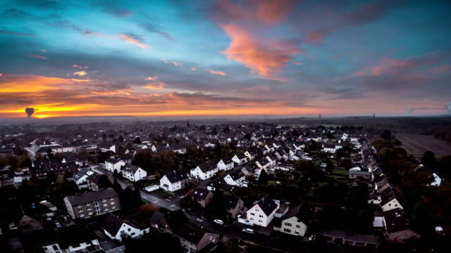 AERIAL : German Suburb at Sunset