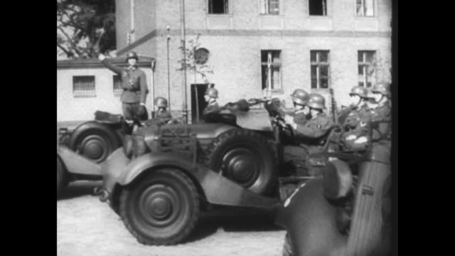 / German troops rolling into Denmark / German soldiers walking along Danish streets / animated map of Denmark being overshadowed by German occupation...