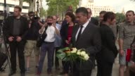 German Vice Chancellor and Foreign Minister Sigmar Gabriel pays respect to victims of the Barcelona attack at the Fuente de Canaletas in Barcelona...