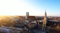 Germany, Bavaria, Munich, Marienplatz with New Town Hall and Frauenkirche. Mary��s Square or Central Square in the city centre of Munich during sunset