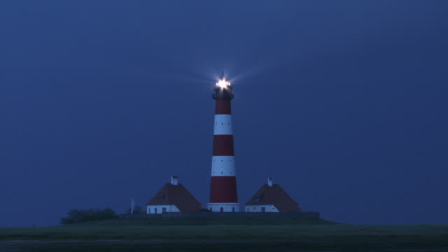 MS, Germany, Schleswig-Holstein, Westerhever lighthouse at night