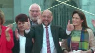 Germany's Social Democratic Party candidate Martin Schulz holds a final rally in the western city of Aachen before national elections on Sunday