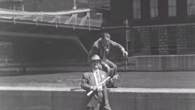 Getting off of CEI Train / Walking in Union Station / Fooling Around by Chicago River / Fooling Around Chicago River on August 30 1948 in Chicago...