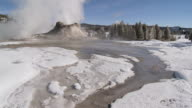MS TU Geyser erupting in snowy landscape / Yellowstone National Park, Wyoming, United