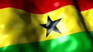 Ghana Flag waving, looping