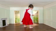 Giant toddler girl walking around in tiny room with key