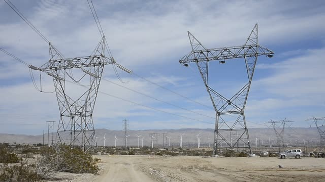 Giant wind turbines are powered by strong winds on March 27 2013 in Palm Springs California According to reports California continues its lead in...