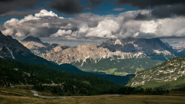 Giau Pass European alps mountain range , Time Lapse , dolomites south tyrol Italy