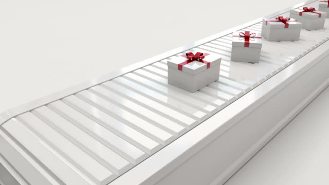 Gift boxes on conveyor belt