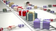 Gift boxes on conveyor belt
