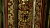 Gilded wood paneling depicts peacocks boars and deer inside Saint Catherine's Monastery in Mount Sinai Egypt. Available in HD.