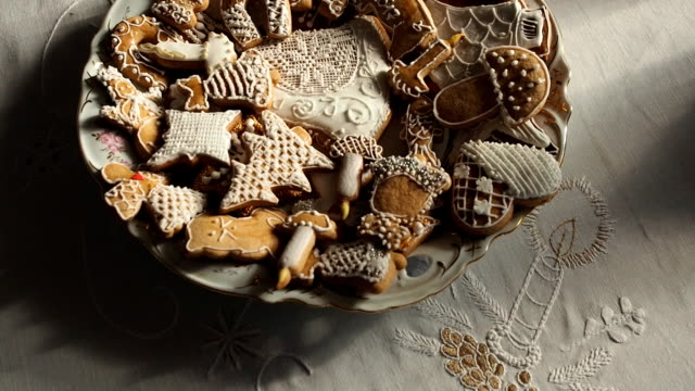 Gingerbread Christmas cookies on the table.
