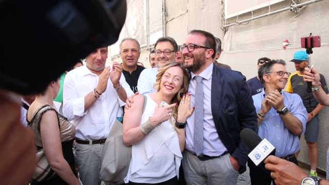 Giorgia Meloni and new Mayor of L'Aquila Pierluigi Biondi in L'Aquila Italy on June 26 2017 In L'Aquila a city in central Italy that has been...