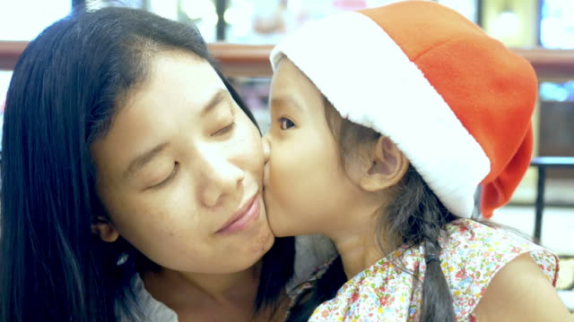 Girl and mother , Christmas concept