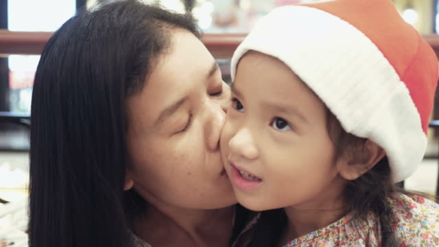Girl and mother with Christmas concept