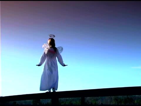 Girl dressed as an angel