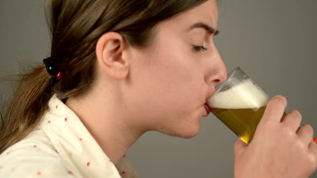 Girl drinking beer