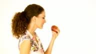 HD: Girl eating apple