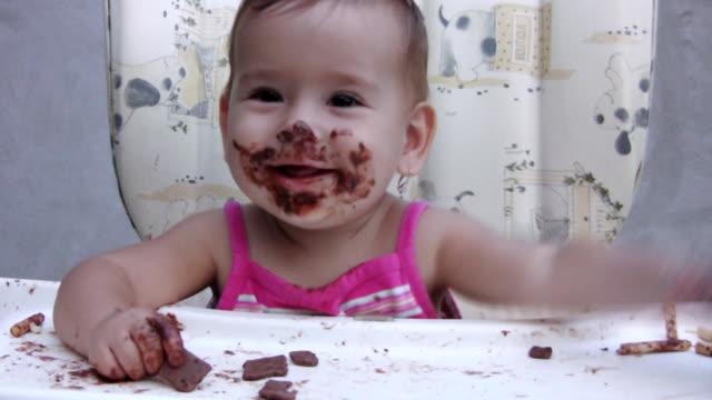 Girl eating chocolate (HD)
