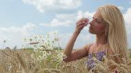 HD: Mädchen, genießen Sie die Sonne in Weizen Gras