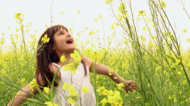 Girl enjoying in the mustard field, Haryana, India