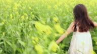 Girl enjoying in the mustard field, Haryana, India