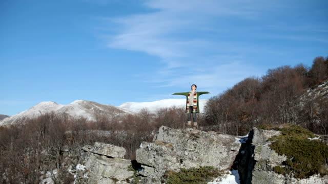Girl high on mountain