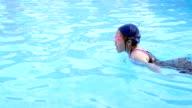 Girl in swimming pool.