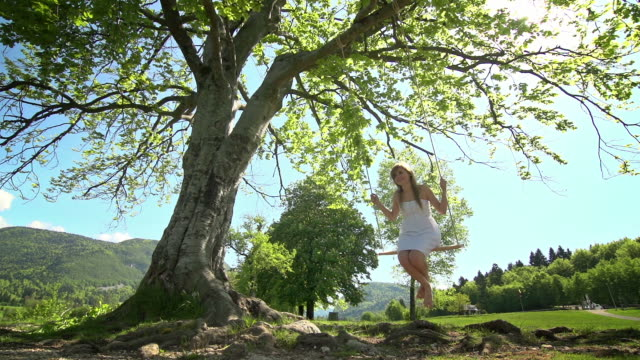 Girl in white dress swinging on rope swing under tree