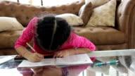 girl made homework calculate mathematics